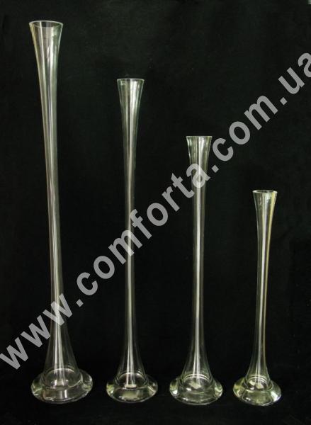 высокие узкие вазы из стекла для одного цветка, высота - 40, 50, 60, 70 см