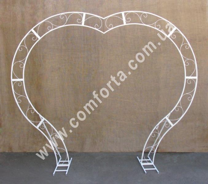 металлический каркас свадебной арки в виде сердца серии Флора, высота - 2,35 м, ширина - 2,83 м