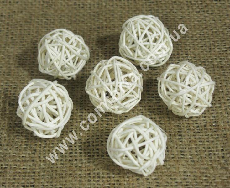 шарик из ротанга, диаметр - 3 см, цвет - бежевый, количество в упаковке - 6 штук