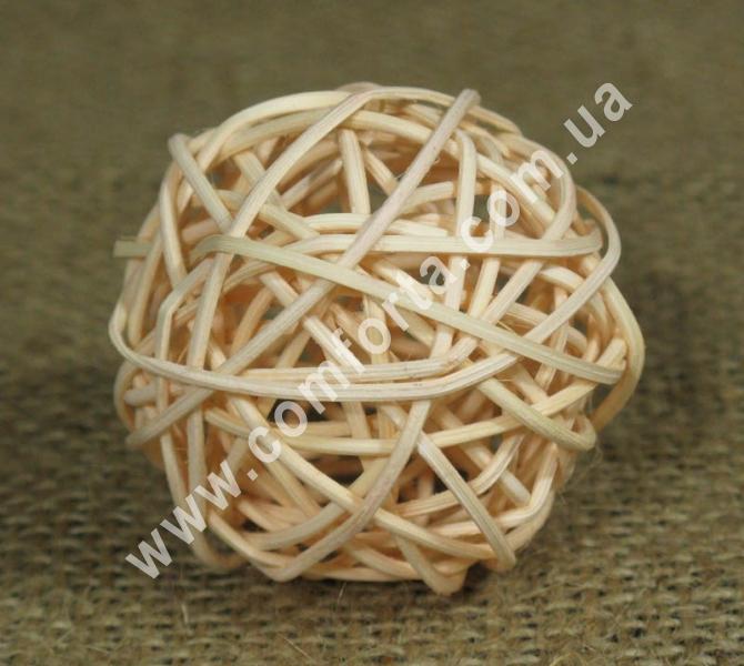 шарик из ротанга, диаметр - 5 см, цвет - персиковый