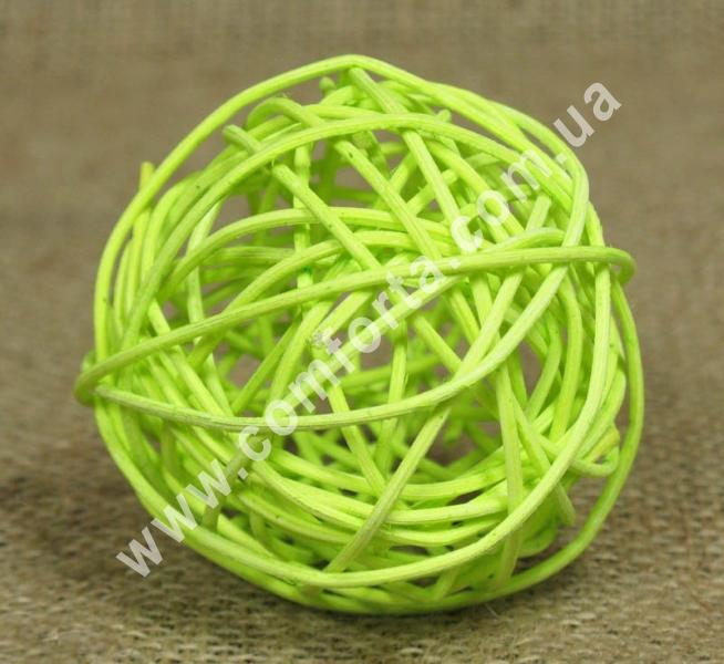 шарик из ротанга, диаметр - 7 см, цвет - салатовый