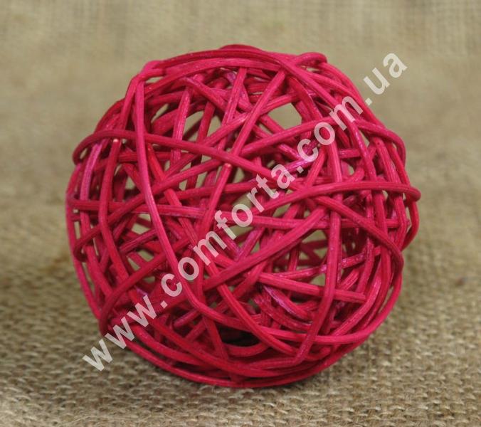 шарик из ротанга, диаметр - 7 см, цвет - бордовый