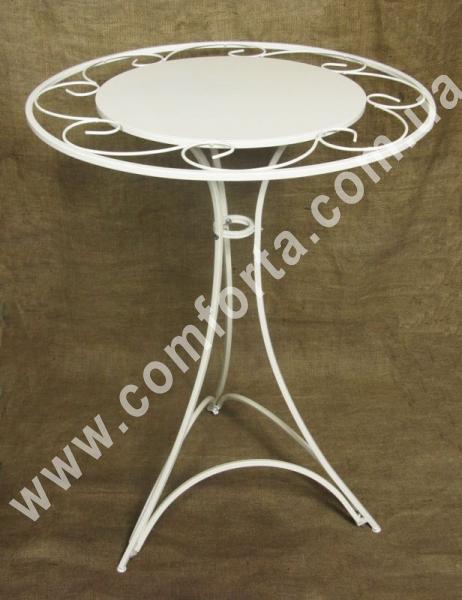 свадебный разборной столик с декоративной столешницей, высота - 80 см, диаметр - 60 см, материал - металл