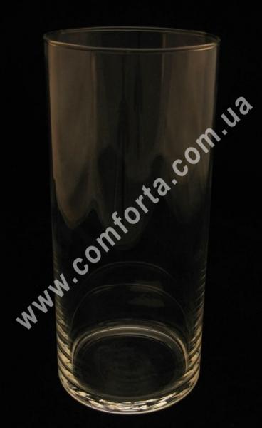 стеклянная ваза в форме цилиндра, высота - 26 см, диаметр - 11 см