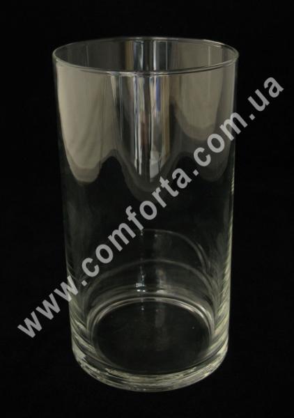 стеклянная ваза в форме цилиндра, высота - 19 см, диаметр - 11 см