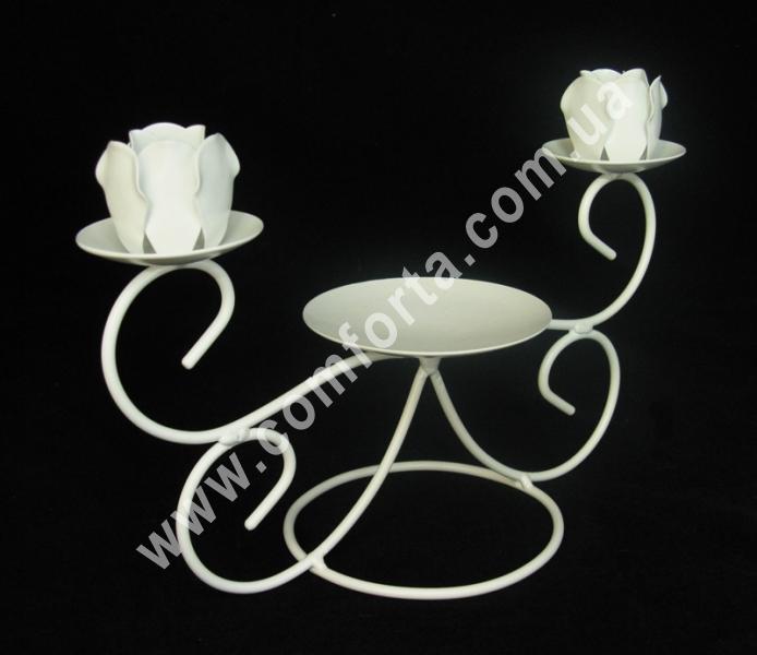 подсвечник на три свечи семейный очаг на свадьбу, высота - 18 см, длина - 26 см, материал - металл