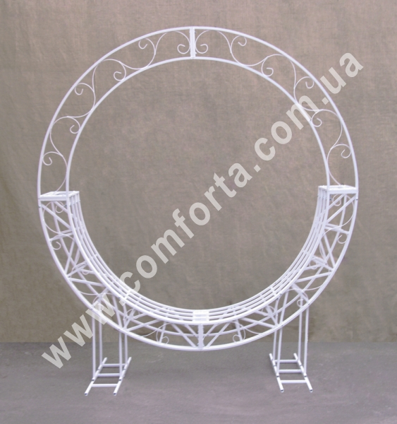 Свадебные качели - каркас для оформления фотозоны - разборная круглая арка со скамейкой для свадебной фотосессии (ru) 32220_66 www.comforta.com.ua