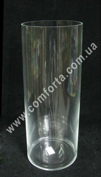 стеклянная ваза в форме цилиндра, высота - 31 см, диаметр - 12 см