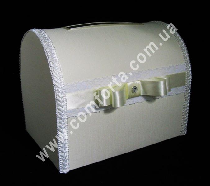свадебный сундучок для денег, украшенный кремовой атласной лентой, высота - 28 см, ширина - 18 см, свадебный аксессуар