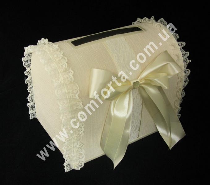 свадебный сундучок для денег, украшенный кремовым атласным бантом, высота - 28 см, ширина - 18 см, свадебный аксессуар