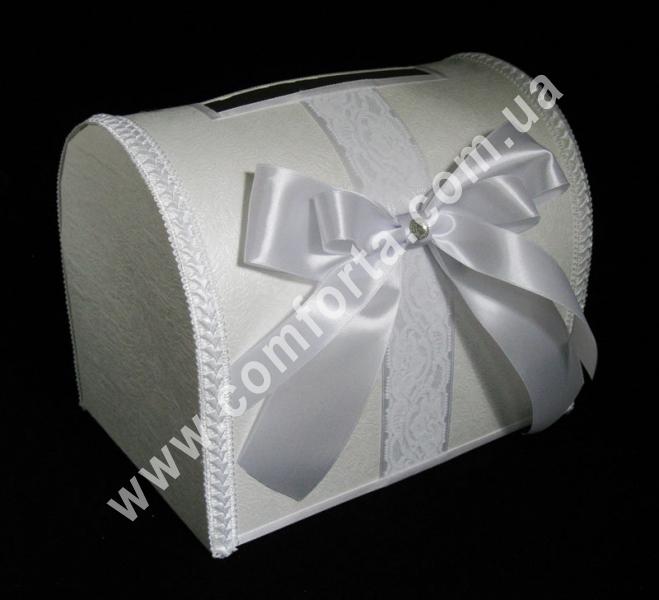 свадебный сундучок для денег, украшенный белым атласным бантом, высота - 28 см, ширина - 18 см, свадебная копилка