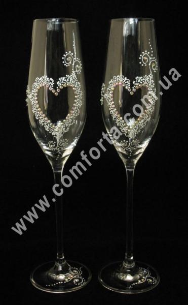 свадебные бокалы с кристаллами Сваровски, высота - 26,5 см, диаметр -  5,5 см