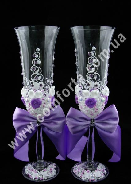 свадебные бокалы с атласными бантами, высота - 25 см, диаметр - 7 см, цвет - сиреневый