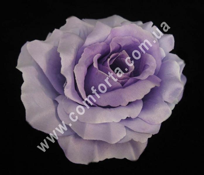 искусственная головка розы, диаметр - 13 см, цвет - сиреневая