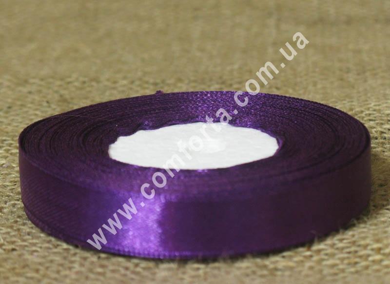 лента атласная фиолетовая в рулоне, ширина - 1,2 см, длина - 23 м