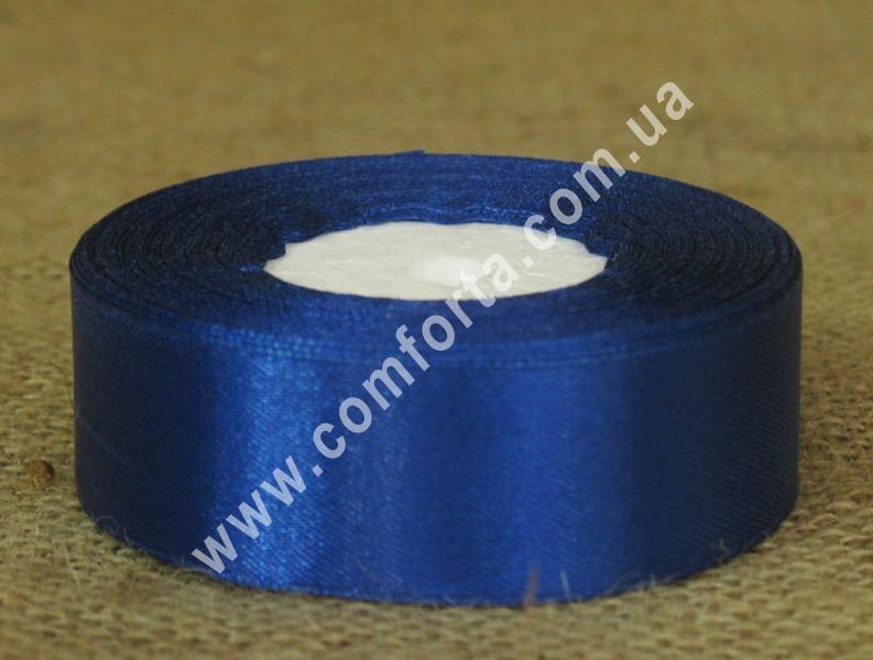 лента атласная синяя, ширина - 2,5 см, длина - 23 м