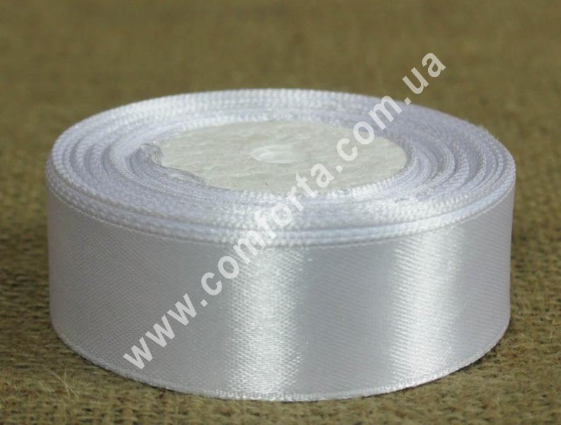 лента атласная белая, ширина - 2,5 см, длина - 23 м