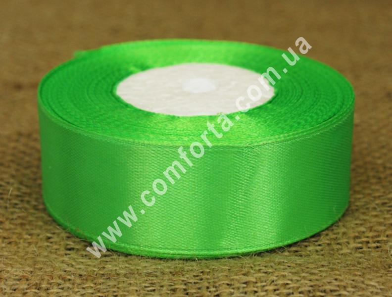 лента атласная светло-зеленая, ширина - 2,5 см, длина - 23 м