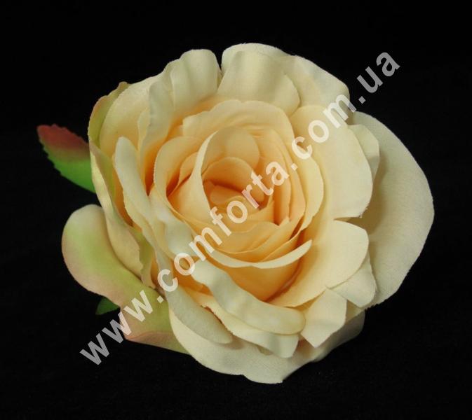 искусственная головка розы, диаметр - 9 см, цвет - персиковый