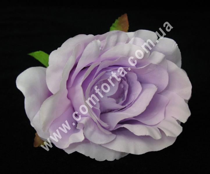 искусственная головка розы, диаметр - 9 см, цвет - сиреневая