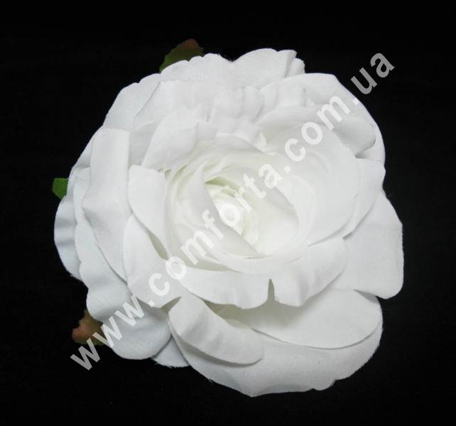 искусственная головка розы, диаметр - 9 см, цвет - белый