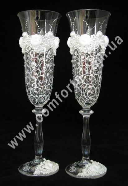 свадебные бокалы с лепными украшениями, высота - 25 см, диаметр - 7 см, объем - 190 мл
