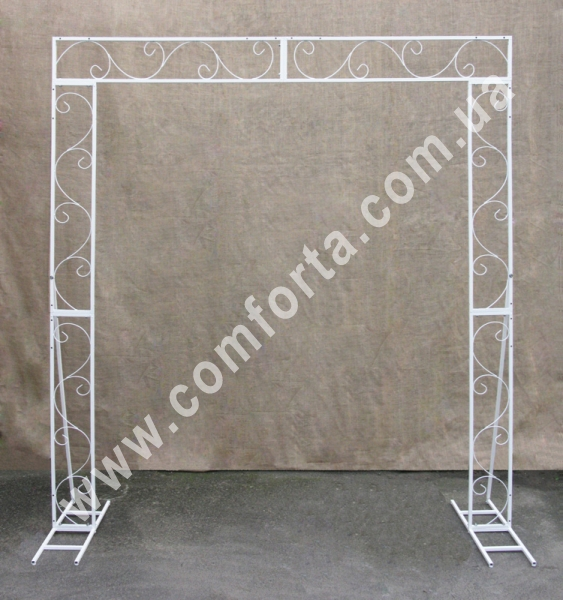 прямоугольная плоская свадебная арка серии Флора, высота - 2,3 м, ширина - 2,1 м, материал - металл